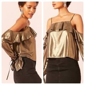 Tops - GOLD Open Shoulder Ruffle Top NWT Small